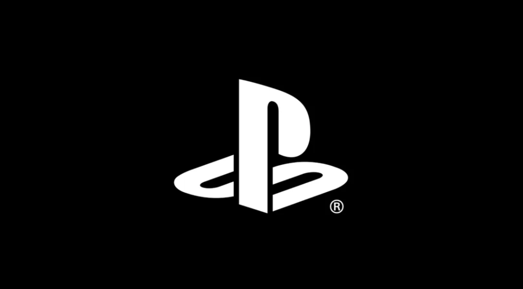 White PlayStation logo on black background
