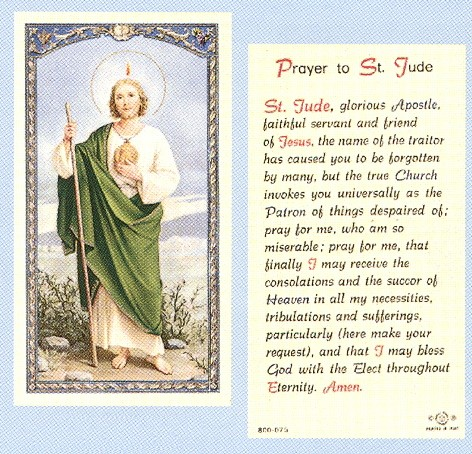 633a616caed Sacco Company Laminated Holy Cards Prayer To St Jude