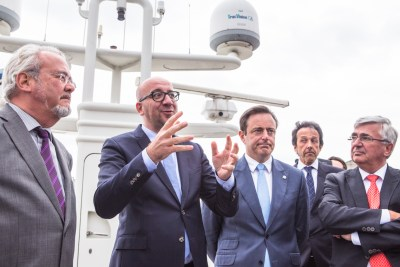 boat tour Port of Antwerp, Charles Michel, Marc Van Peel, Bart De Wever