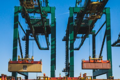unloading containers at Port of Antwerp