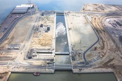 Kieldrechtsluis onder constructie Antwerpse haven luchtfoto