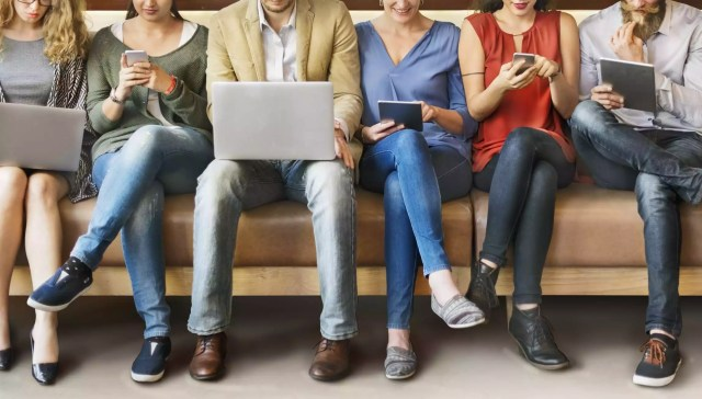 people browsing on electronics