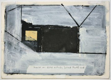 "Ryan Ward, ""House on fire nobody home that's sad"", acrylic, etching, collage on paper, 11x14"""