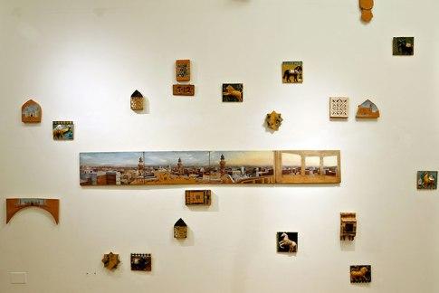"Amaan Khalid Aslam, ""Murjhaati Eentain, The Withering Bricks,"" oil on linen, ceramics, 2015-2016"