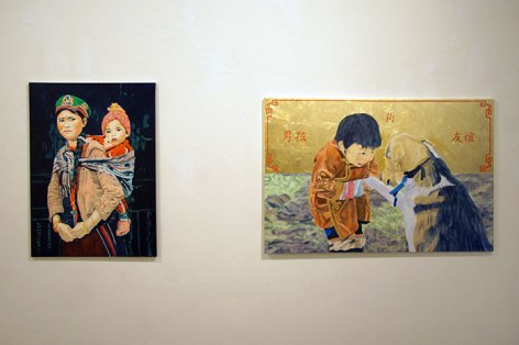 """Lisa A. Fracica, """"Tamang Mother and Child,"""" oil, gold, silver leaf on canvas, 2015-2016; """"Friends,"""" oil, gold leaf on canvas, 2015-2016"""
