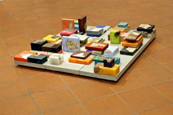 """Keri Rosebraugh, """"Bricks,"""" bricks, stone, tiles, wax, 2016"""