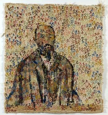 "Filipe Rocha da Silva, ""Anonimous,"" Textile Drawing, (Arraiolos web and wool) 96x90 cm (37,5 x 35 in), 2013"