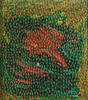"Filipe Rocha da Silva, ""Flor Power,"" Acrílico reflector sobre vidro temperado de 4 mm sobre madeira pintada, 130x115 cm, 2007"