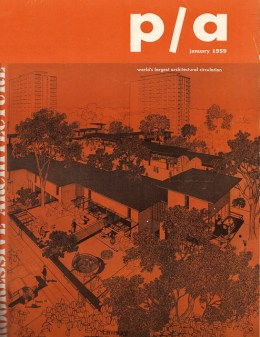 January 1959: Capitol Towers and Gardens featured on the cover of Progressive Architecture  Rendering by Helmut Jacoby.