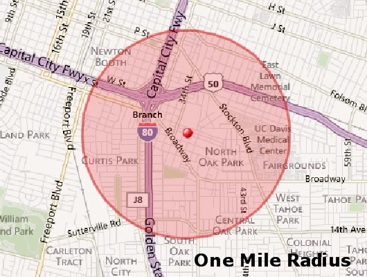 One Mile Radius for Comps - Sacramento Appraiser