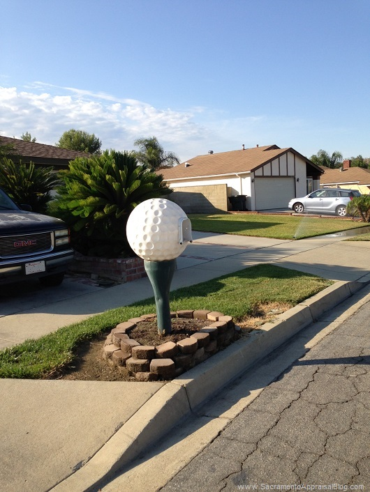 golf ball mailbox - by Sacramento Appraisal Blog