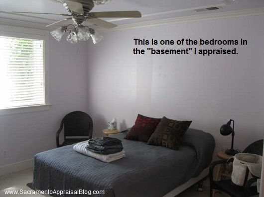 bedroom in a basement - by sacramento appraisal blog