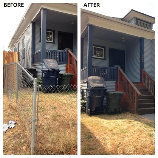before and after chain link fence - the oak park team