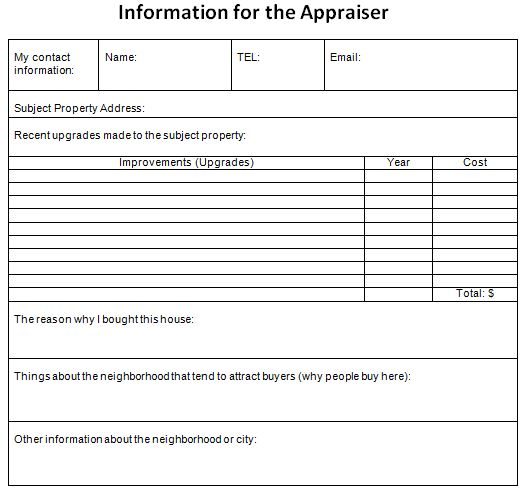 information for the appraiser example