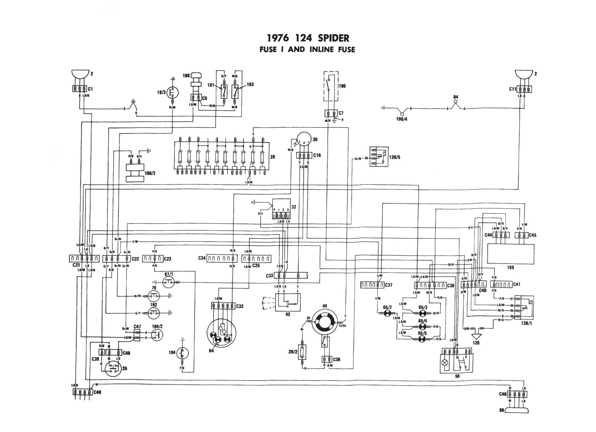 Fiat 124 Spider Wiring Diagram
