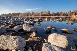 Rocks are bare on the riverbed of the American River.