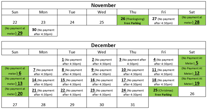2015-Holiday-Free-Meter-Parking-Calendar