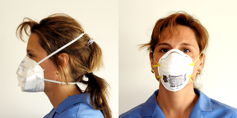 User wearing N95 mask
