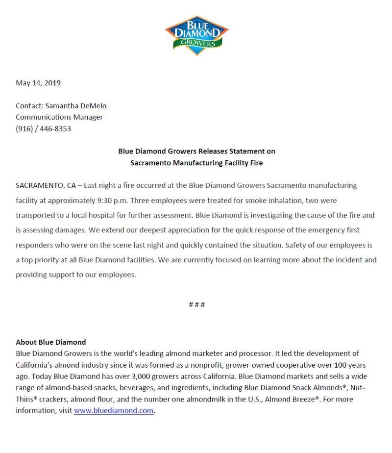 press release blue diamond
