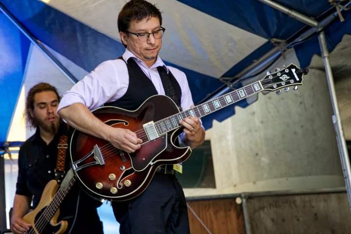 Brad Duran of In the No at Saturday morning's set at Freeway Gardens.