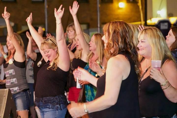 Cheering on Steelin' Dan at the Firehouse Lot Saturday night.