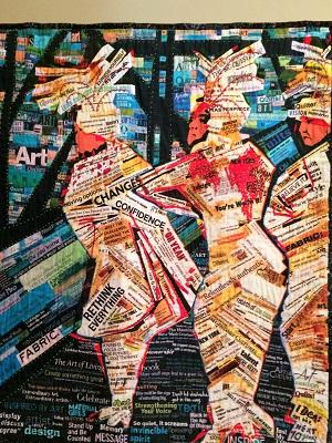 Pictures of Pixeladies art quilt Crossing the Bridge with Faith