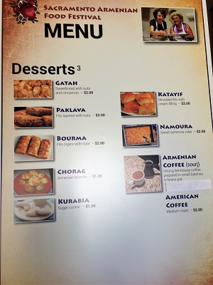 Picture of Armenian Food Festival Dessert Menu