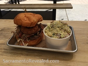 Photo of Urban Roots Pulled Pork Sandwich & Potato Salad