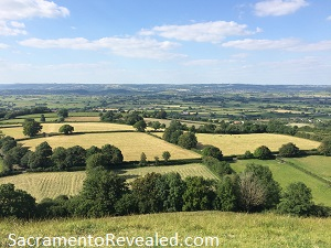 photo of countryside in England from Glastonbury Tor