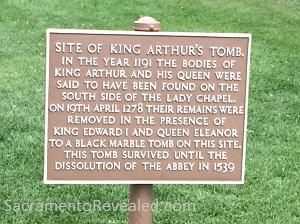 Photo of Glastonbury Abbey Signage - Location of King Arthur Grave
