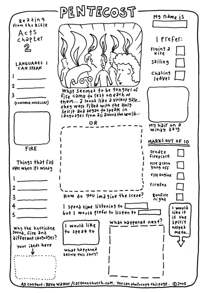 Pentecost is for everyone! Fabulous cartoon worksheet, free to distribute from Cartoon Church :)