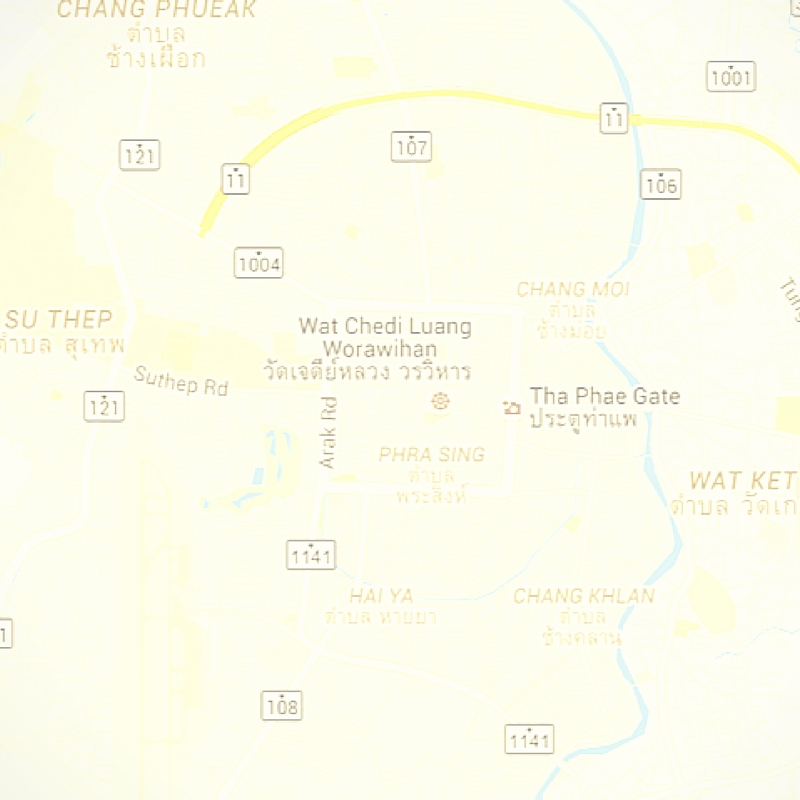 Map of central Chiang Mai, via Google Maps. Our house is off the 108, further south.