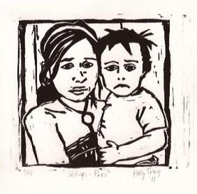 """""""Siblings - Peru"""" - woodcut © 2011 Holly Troy"""