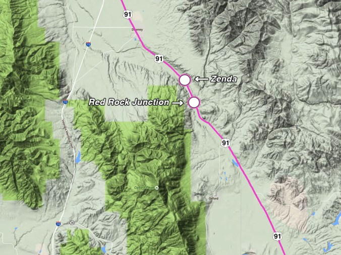 Figure 4. Red Rock Pass – the outlet for the great Bonneville Flood. The town of Zenda sits right in the spillway carved by the draining floodwaters. Flow was towards the north, following the pathway now occupied by Highway 91.