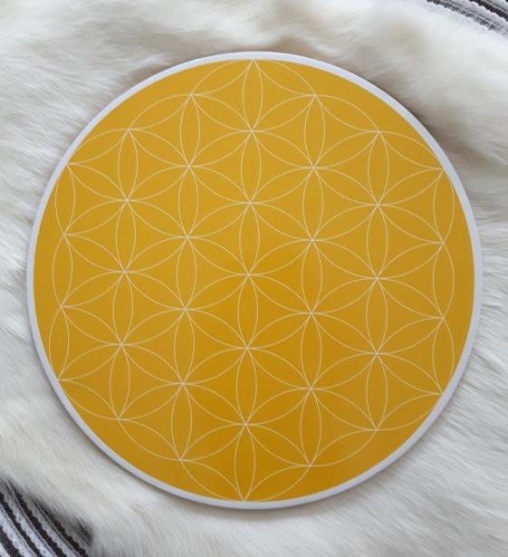Solar Plexus Flower of Life Crystal Grid