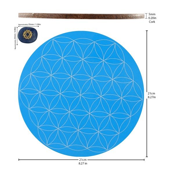 Flower of Life Throat Chakra Crystal Grid