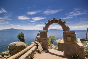 Arch at Taquile Island near Lake Titicaca in Peru
