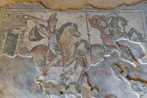 Mosaic floor from Nile House in NP Zippori in Galilee, Israel