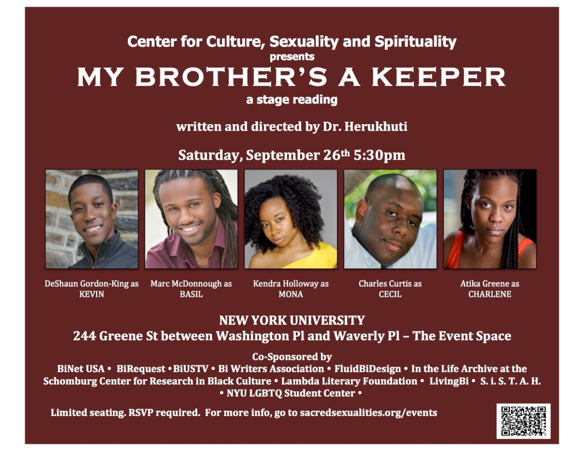 My Brother's a Keeper – NYC Staged Reading for Bisexual Awareness Week