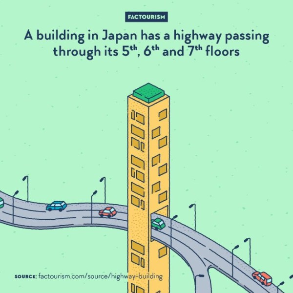 Osaka is home of the Gate Tower Building (Gēto Tawā Biru), a 16-storeys tower opened in 1992 and designed by architects Azusa Sekkei and Yamamoto-Nishihara Kenchiku Sekkei Jimushō. Three of it floors are crossed by a motorway, going through a large hole in the building. The road does not touch the building and is held by a bridge, while the elevator go straight from level 4 to level 8.