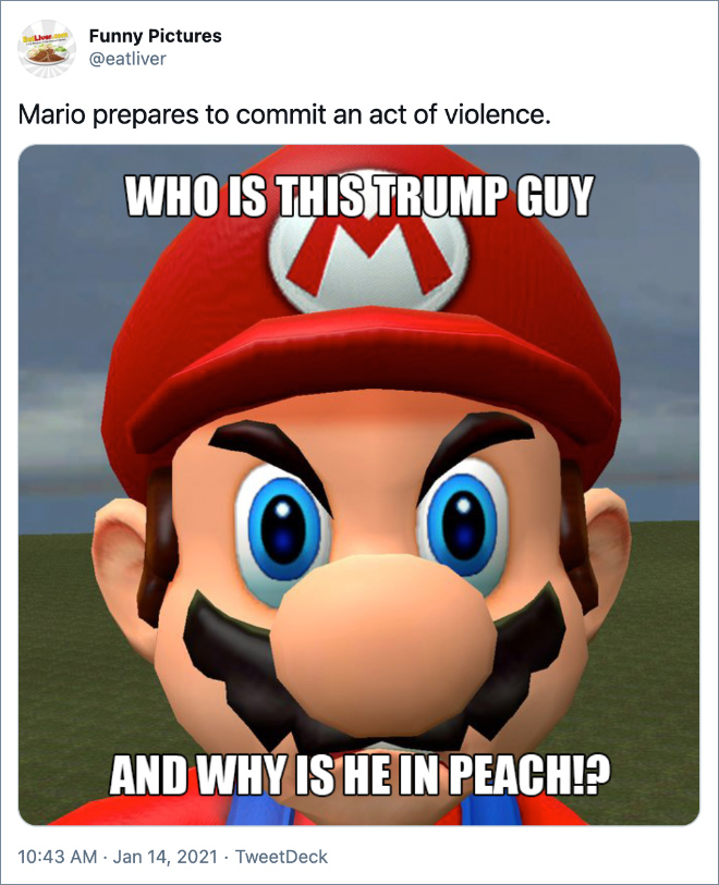 Mario prepares to commit an act of violence.