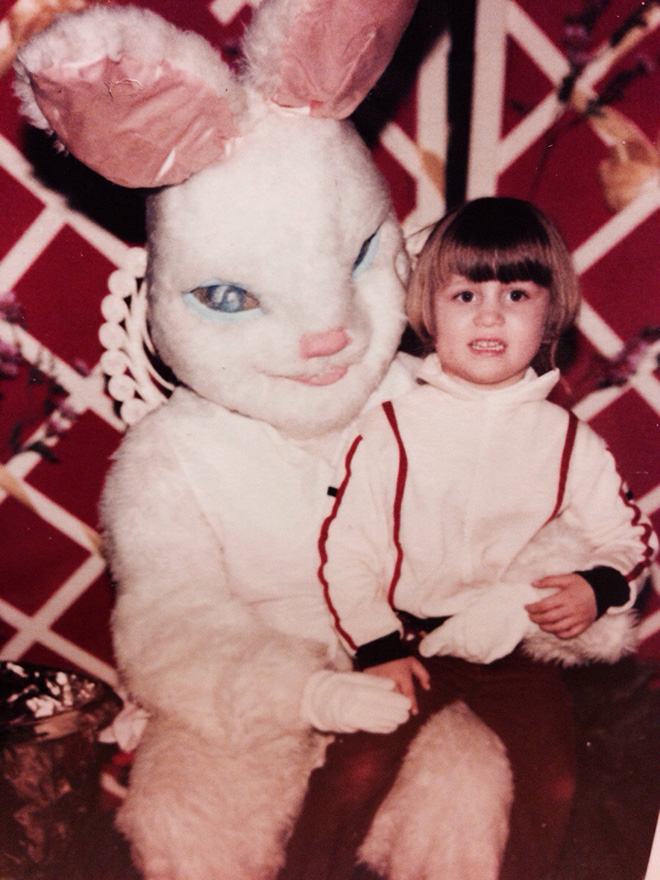 Creepy vintage Easter Bunny photo.