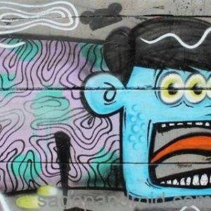 gambar grafiti monster sketch abstrak