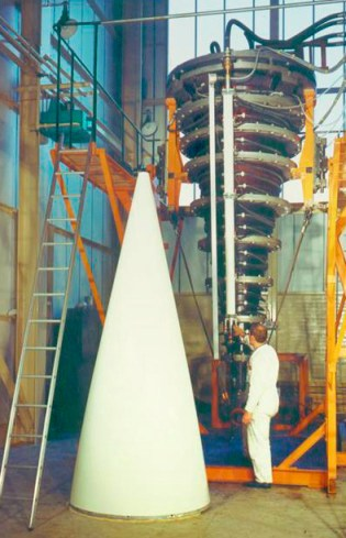 Nose cone with heater used to cure the resin in the glass fibre.