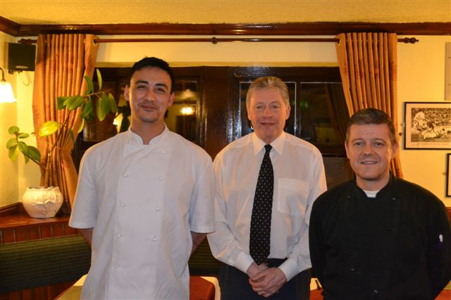Anthony Byrom with landlord Ray Hicks and chef Andrew McDonald