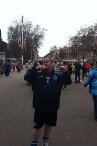 FINISH LINE... David Broadbent on The Mall with his medal