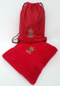 NEAT: Water-resistant bag and bath sheet embroidered with OLDHAM RLFC crest