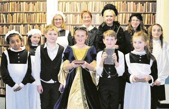 VICTORIAN WEEK: Louise Lowther, Caitlin Barrass, headmistress Vanessa Payne, Liz Oliver, (Front L-R) Aleeza Ali, Elyssia Buckley, Tony Griffiths, Libby-May Hilton, Toby Graham, Victoria McWhirter and Lucy Walker