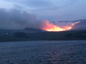 Castleshaw fire at night