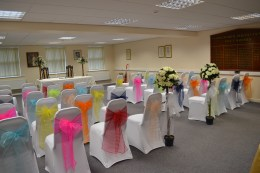 The meeting room set out for a wedding